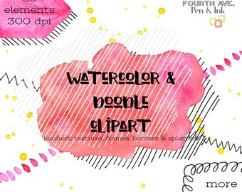 Watercolor Wash Clipart, Watercolor, Doodle, Embellishments, Banners, Frames, Clipart, Hand Drawn, Clipart Frames and Washes