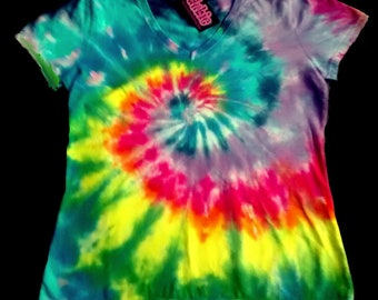 Rainbow Spiral V Neck Tie Dye Shirt 9 oz