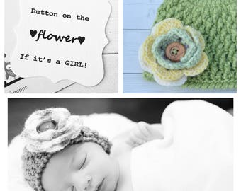 Gender Neutral Baby Hat/Surprise Gender Baby Hat, button on flower if it's a girl...leave it off for a boy! Home from hospital outfit