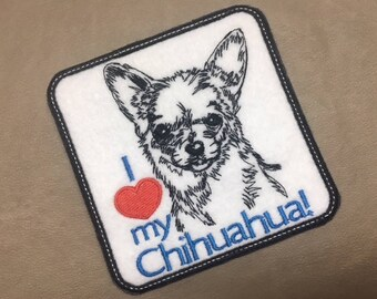 """I LOVE My CHIHUAHUA - Felt Patch, 4"""" x 4"""", Iron On Patch or Sew On Patch, Choose Dog Breed, Animal Patch, I Love My Dog, Ships in 1-2 Days!"""