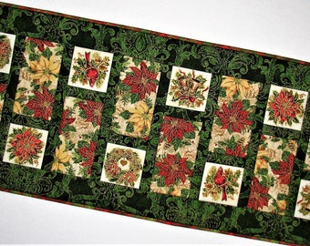 "Christmas Quilted Table Runner, Holiday Quilted Table Mat, Ornate Red Green and Gold Table Runner, 42""x17"", Quiltsy Handmade"