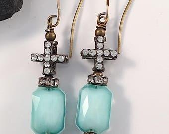 Blue Milk Glass, Rhinestone Cross Brass Beaded Earrings, Gift for Her, Art Nouveau, Statement, Renaissance, Vintage Inspired, Romantic, Boho