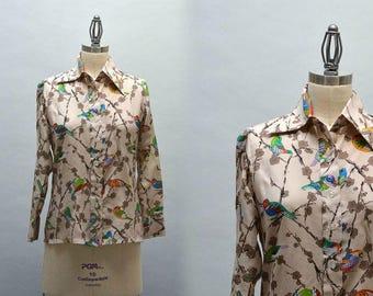 70s Bird Print Shirt - Vintage Seventies Neiman Marcus Bird Print Blouse Size 8 Botanical Print Flora and Fauna Designer Shirt