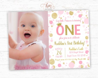 Princess Invitation, Pink and Gold princess Birthday Invitation, Gold and pink first birhtday party sparkle confetti, PRINTABLE FILE