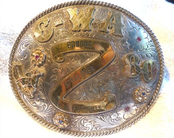 HUGE 220g .925 Sterling Silver 10k Solid Gold Horse and 10k Gold Fill SILVERADO Mens Western Belt Buckle 1980 Pomona Appaloosa Futurity