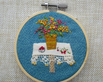 The Bouquet... Embroidered Textile Art