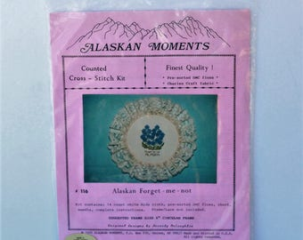 Alaskan Moments Counted Cross Stitch kit #116 Alaskan Forget -me-not Blue flowers Finest Quality Vintage 1990