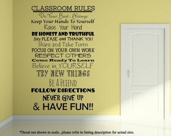 Class Room Rules Wall Decal, Classroom Decal, Classroom Decor, Classroom Wall Decor, Classroom Rules Decal, Classroom Rules Sign