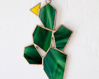 Opuntia Prickly Pear Cactus Stained Glass Sun Catcher Window Hanging
