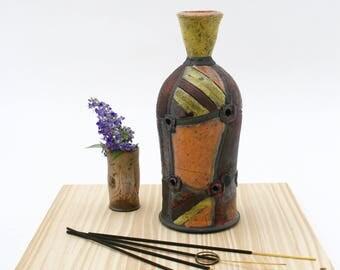 Yellow and Orange Incense Burner #02, Earthy Raku Copper Incense Bottle, No Mess Ceramic Incense Bottles, Pottery Incense Burner