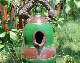 Large Decorative Raku Birdhouse #01, Forest Green and Copper Metallic Ceramic Raku Birdhouse, Hanging Pottery Birdhouse