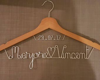 Names and date personalized wedding hanger