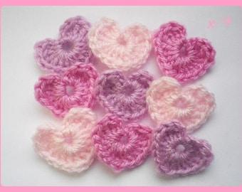 Lot 9 hearts applique crochet 3 x 2, 5 cm of wool