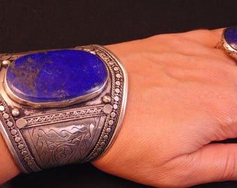 BR6500 - Vintage Style Lapis Kuchi Tribal Cuff Bracelet - Afghani Ethnic Statement Bracelet Boho