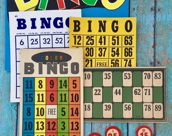 Four Vintage Bingo Cards