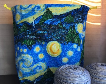 Starry Night: Large Drawstring Project bag