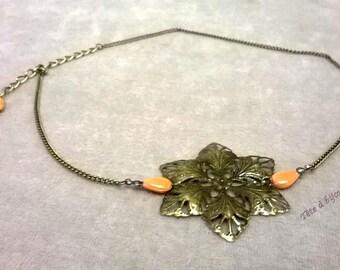 Bronze flower headpiece headband