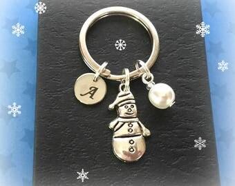 Personalised Snowman keyring - Snowman keychain - Snowman gift - Christmas gift - Stocking filler - Secret Santa - Stocking stuffer - UK