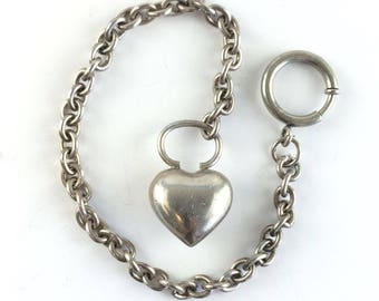 Vintage Sterling Silver Puffy Heart Charm Bracelet Antique Large Heart Bracelet Anniversary Gift for Her Birthday Vintage Estate Jewelry