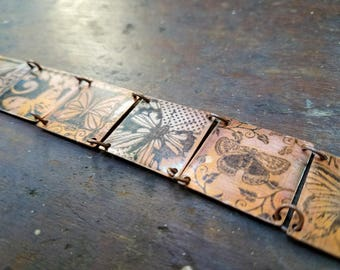 Salvaged Copper butterfly bracelet square