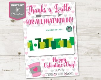 INSTANT DOWNLOAD Printable Valentine's Day 5x7 Thanks a Latte Coffee Gift Card Holder / Item #3105