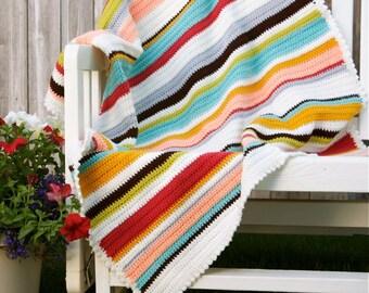 Crochet, half double stitch, Vintage Colors baby/toddler/adult lap crochet blanket