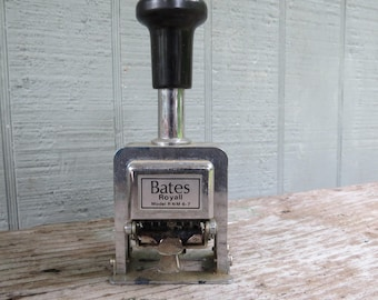Vintage Bates Royall Automatic Numbering Machine- Numeroteur- In Original Box 1986 RNM6-7