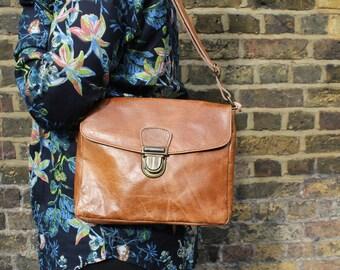 Louisa Simple Satchel Distressed Tan Leather