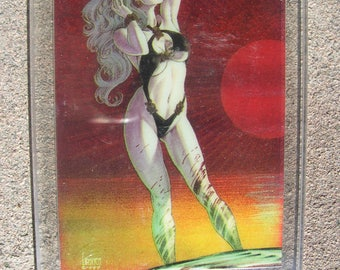 1994 Lady Death Mystery Chase Card #1 Clearchrome Holochrome card art by Joseph Linser