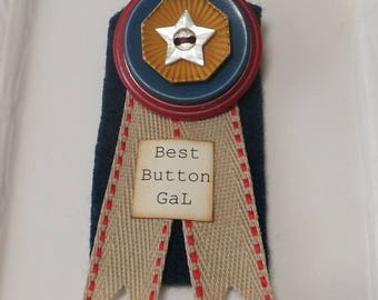 Button Gift Award Medal for Best Button Gal Brooch Button Pin