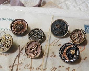 7 Small Victorian Buttons Multi Materials