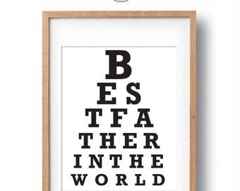 Best Father in the World | Father's Day Eye Chart  print and card | Best Dad Gift | Fathers Day Gift | Fathers Day Card | Instant Download