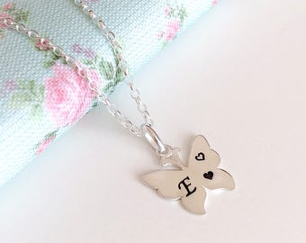 Personalised Butterfly Necklace, Birthday Gift Idea for Daughter, Sterling Silver Butterfly, Butterfly Jewellery, Initial Necklace,Monogram