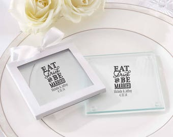 36 Personalized Wedding Coasters Eat, Drink & Be Married - Coaster Wedding Favors - Personalized Glass Coasters (27075ED)