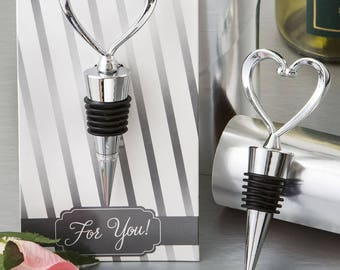 10 Metal Heart Wine Bottle Stopper - Bottle Stoppers - Heart Wine Stopper - Wine Wedding - Wedding Favors (3503)