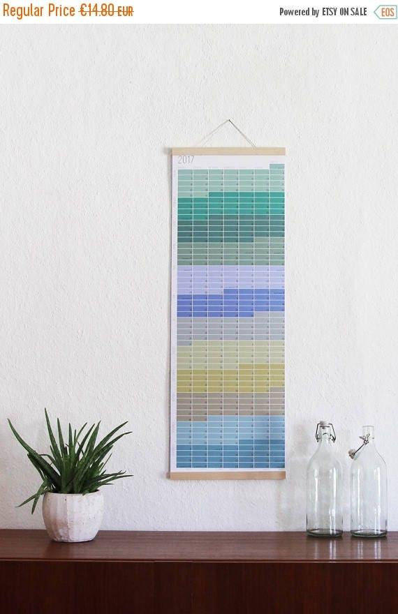 Wandkalender 2017 jahresplaner 2017 pastell aqua t rkis natur for Wand jahresplaner 2017