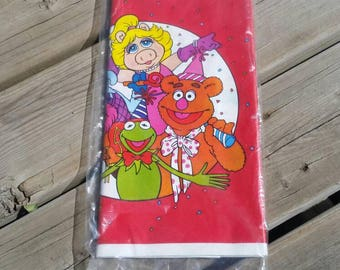 Vintage 1980s Jim Henson's Muppets Plastic Tablecover Tablecloth Party Decor