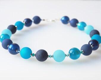 blue turquoise necklace with big pearls statement polaris necklace dark blue bordeaux with Swarovski® Kristallen