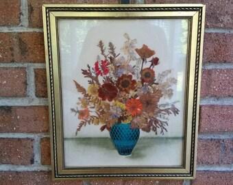 Framed Botanical Art, Dried Flower Arrangement, Signed Henrietta Brownie Strong