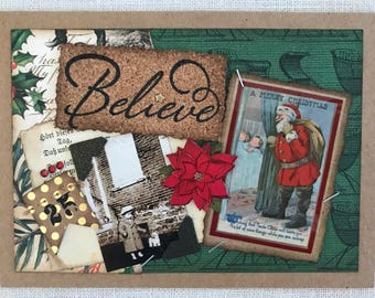 Christmas Card ~ Holiday Card ~ Believe ~ Vintage Christmas ~ Handmade Card ~ Vintage Christmas Card ~ Card for Child ~ One-of-A-Kind Card