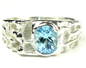 Fathers Day, 1/3 Off, Swiss Blue Topaz, 925 Sterling Silver Men's Ring, SR197