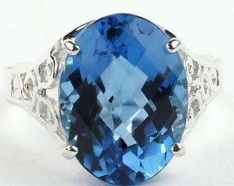 On Sale, 30% Off, Swiss Blue Topaz, 925 Sterling Silver Ladies Ring, SR049