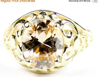 On Sale, 30% Off, Champagne CZ, 14KY Gold Ring, R004