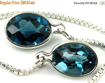 On Sale, 30% Off, London Blue Topaz, 925 Sterling Silver Threader Earrings, SE005