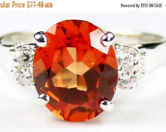 On Sale, 30% Off, Created Padparadsha Sapphire, 925 Sterling Silver Ring, SR123