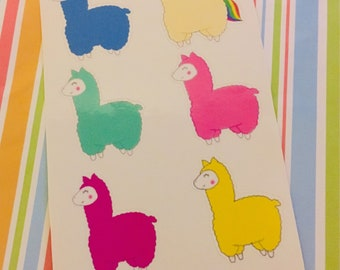 Colourful Llama Stickers/Journal Stickers/ Character Art