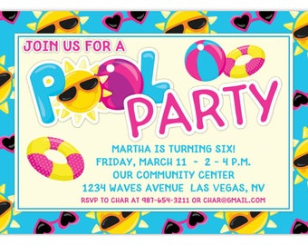 Pool Party Invite, Summer Birthday Invitation, Sun, Beach Ball Birthday Invitation, Digital Design - 4x6 or 5x7 size  - YOU Print