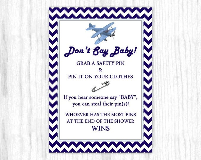 Don't Say Baby game, Printable Party Games, Baby Shower Game - Aviation, Airplane, Blue Chevron, 5x7 size