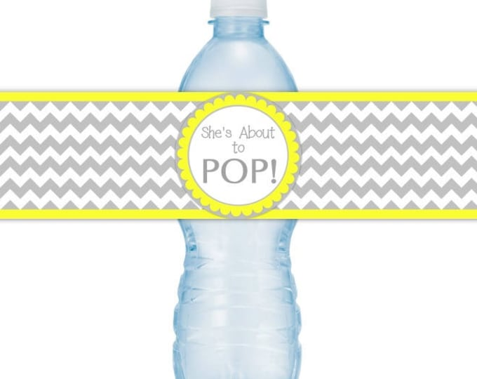 She's About To Pop Water Bottle Labels, INSTANT DOWNLOAD - Gray Chevron and Yellow Baby Shower, you print, you cut, DIY