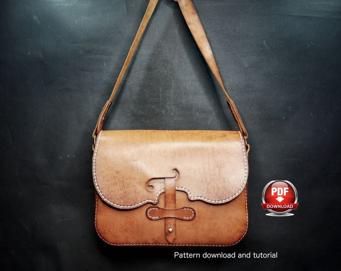 Bag Pattern - Leather DIY - Pdf Download - Leather Pattern - violin Bag Pattern - Messenger bag Pattern - leather bag template